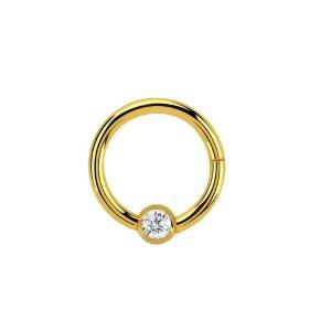 Gold Steel - BCR Klemmring - Klick Verschluss - Kristall