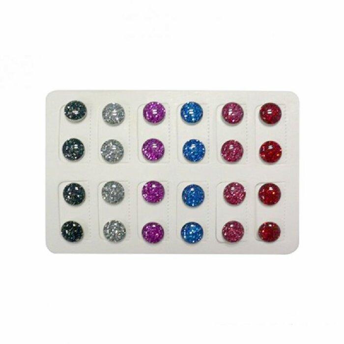 Stahl - Ohrstecker - rund - Glitter Design - 12 Paar