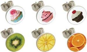 Steel - Ear stud - 12pcs Set - fruits