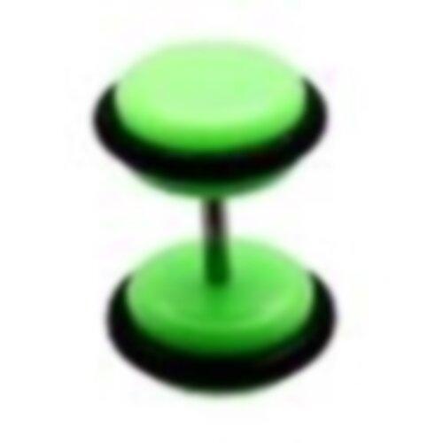 Acryl - Fake Plug - Grün - mit Gummi