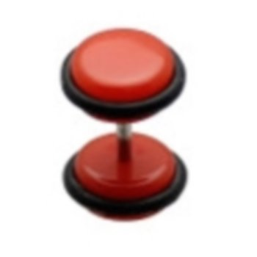 Acryl - Fake Plug - Rot - mit Gummi