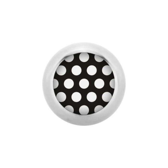 Stahl - Schraubkugel - Polka Dots - schwarz-weiß - Supernova Concept