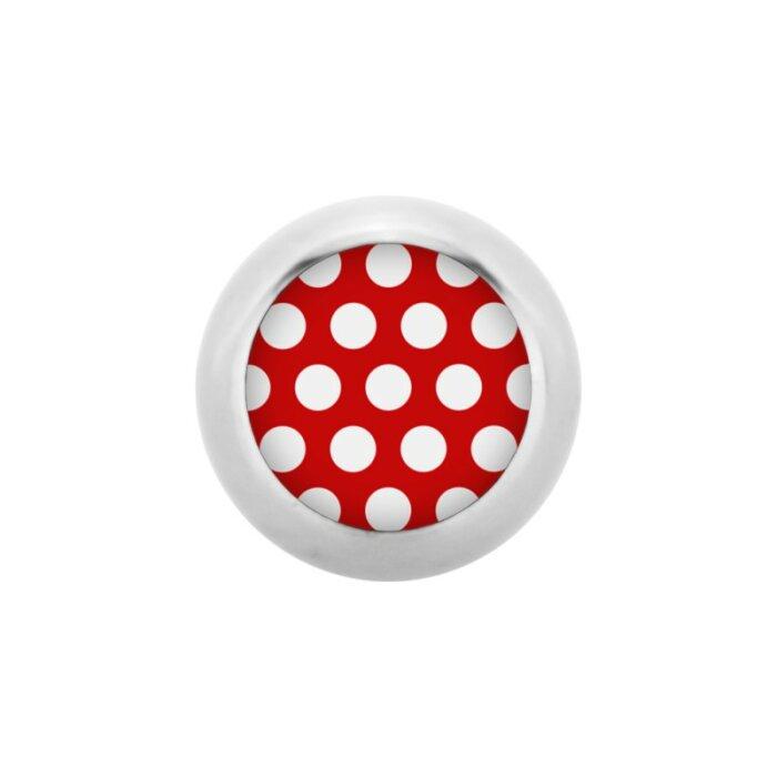 Stahl - Schraubkugel - Polka Dots - rot-weiß - Supernova Concept