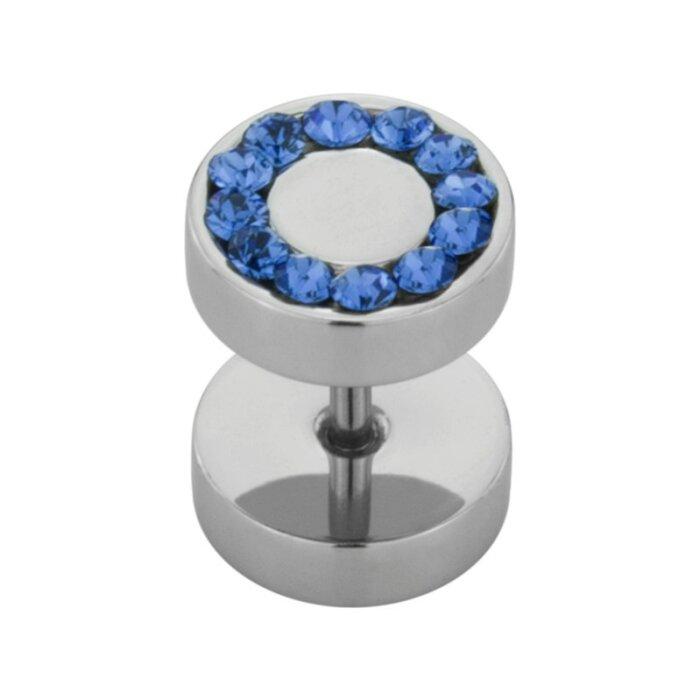 Stahl - Fake Plug  - SWAROVSKI - Supernova Concept - Sapphire (SP)