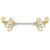 Gold Steel - Nipple Bar - Filigree Crystal