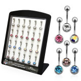 Acrylic Display - FILLED - 24 Titanium Belly Button...