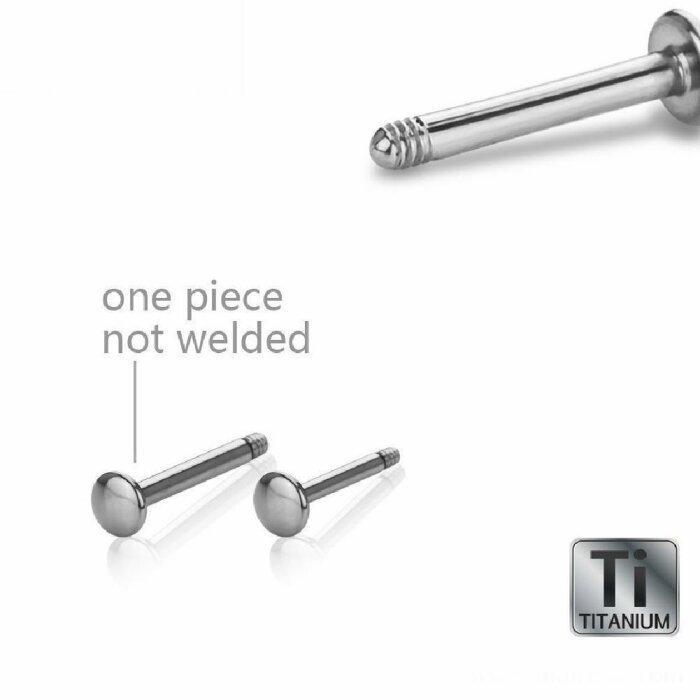 Titan - Labret - ohne Kugel - abgerundete Bodenplatte