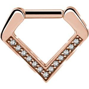 Rosegold Steel - Septum Clicker - Diamant - Kristall
