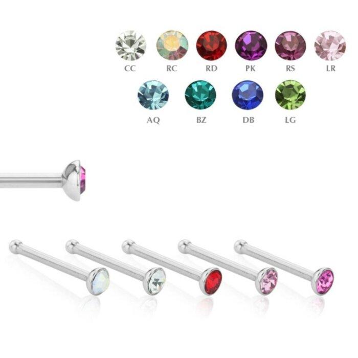 Stahl - Nasenstecker - Kristall - 10er Pack