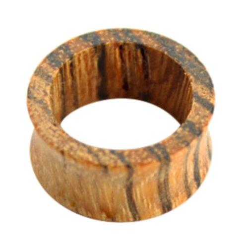 Holz - Flesh Tunnel - Hellbraun gemasert - Zebrano