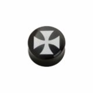 Acryl - Plug - konkav - Eisernes Kreuz - schwarz