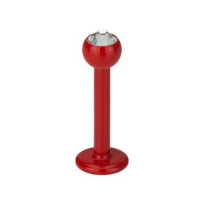 Stahl - Mini-Labret - Rot - Kristall - SWARVOSKI - Supernova Concept - 1,2 mm