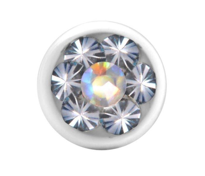 Stahl - Schraubkugel - weiß - Epoxykristall - Supernova Concept - Regenbogen (AB)