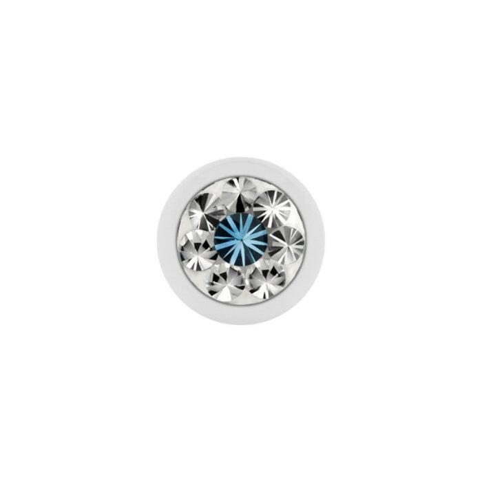 Stahl - Schraubkugel - weiß - Epoxykristall - Supernova Concept - Aquamarine (AQ)