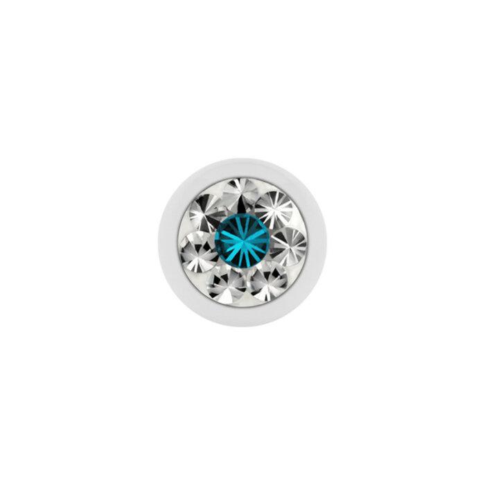 Stahl - Schraubkugel - weiß - Epoxykristall - Supernova Concept - Blue Zircon (BZ)