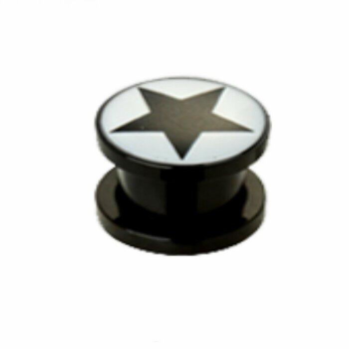 Acryl - Plug - Schwarzer Stern - groß