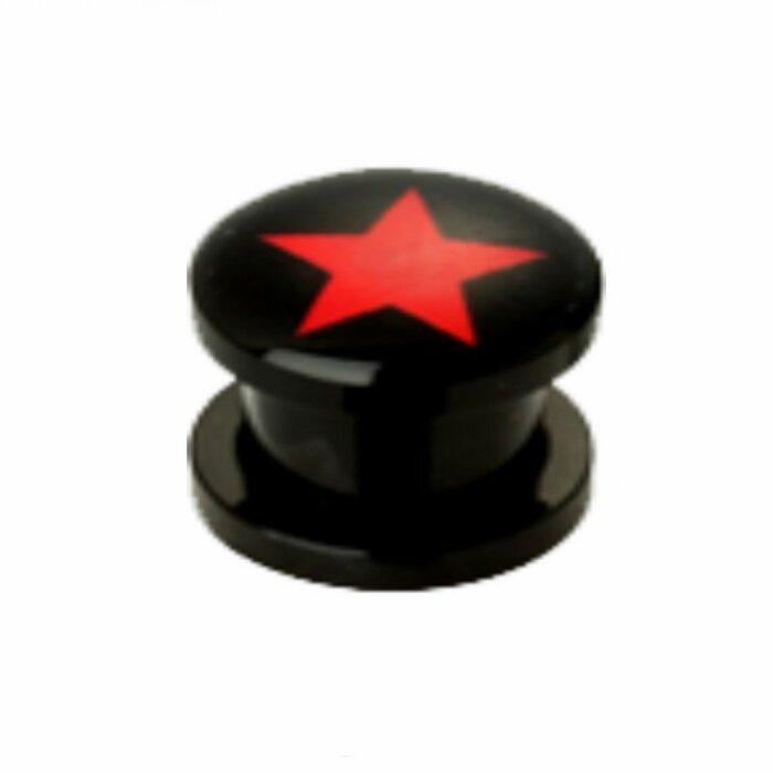 Acryl - Plug - Roter Stern - groß