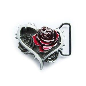 Gürtelschnalle - Herz mit Rosen & Dornen - Blume...