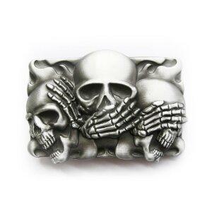 Gürtelschnalle - Die drei Skulls - Nichts hören...