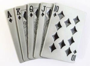 Gürtelschnalle - Royal Flush - 10 offen - Poker Buckle
