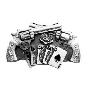 Gürtelschnalle - Guns & Royal Flush silber - mit...