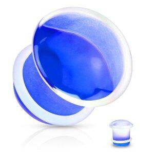 Glas - Plug - klar / blau -  mit Silikon O - Ring