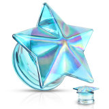 Glass - Plug - Star - Front - Blue AB