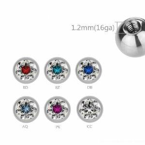 1,2 mm - 4 mm - DB/CC-Dunkel Blau/Kristallklar - Stahl - Schraubkugel - Epoxy Kristall - zweifarbig