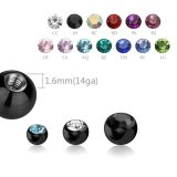 Black Steel - Screw Ball - with Crystal