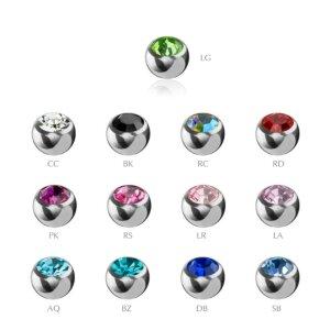 1,2 mm - 2,5 mm - CC - Crystal Clear/ Kristallklar - Stahl - Schraubkugel - Kristall