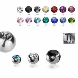 1,2 mm - 3 mm - CC - Crystal Clear/ Kristallklar - Ti Gloss Titan - Schraubkugel - Kristall