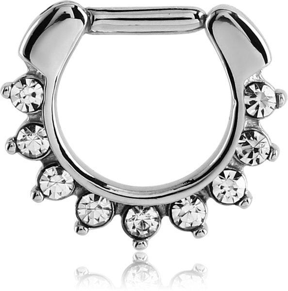 Stahl - Septum Clicker - Oriental Kristall
