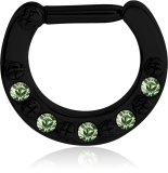 Black Steel - Septum Clicker - Kristall LG- Light Green