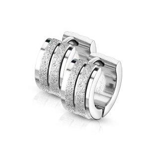 Stahl Creolen - Diamantoptik - 2 Streifen - 1 Paar