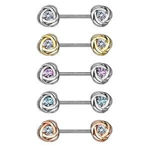 Stahl - Nipple Bar - Rosenblüte - Kristall