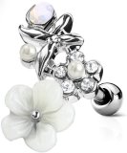 Stahl - Ohrstecker - Blume - Kristalloptik - Tragus