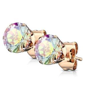 Rosegold Steel - Ear stud - Crystal Aurora Borealis