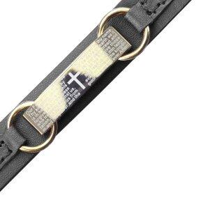Echtleder - Armband - Platte mit Kreuz und Gebet