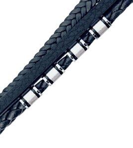 Leather - Bracelet - Multi Strand Blue Micro Fiber