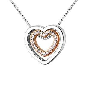 Edelstahl - Halskette - Herz Variation zweifarbig