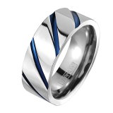 Titan - Finger Ring - Blau gestreift