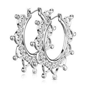 Stahl - Creolen - Filigranes Ornament