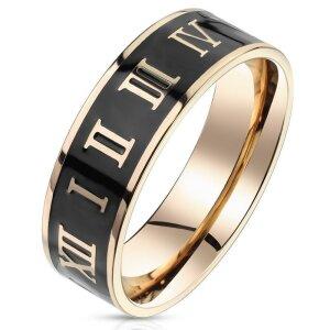 Rosegold Steel - Finger Ring - Römische Ziffern auf...