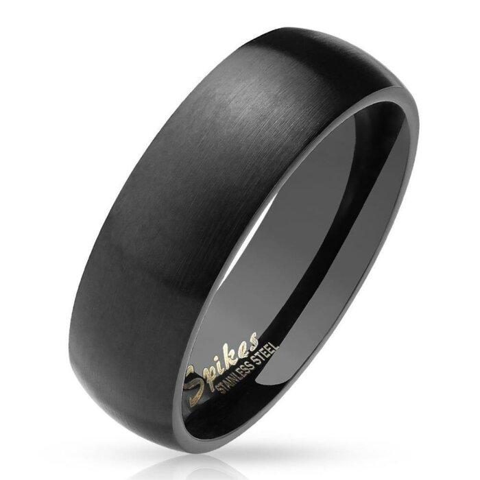 Edelstahl - Finger Ring - Basic Matt Schwarz 64