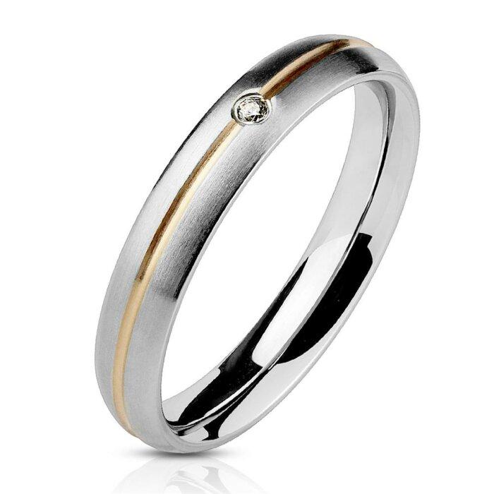 Edelstahl - Finger Ring - Matt Optik mit Rosegold Streifen und Kristall