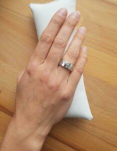 Edelstahl - Finger Ring - Muschel Perloptik und Kristall