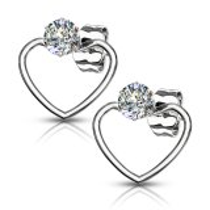 Steel - Ear stud -  Heart Bow - Crystal