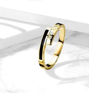 Gold Steel - Finger Ring - Römische Ziffern mit...