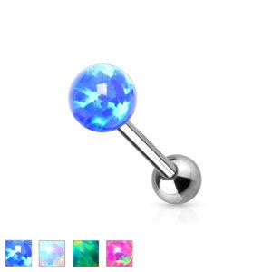 Stahl - Zungenbarbell - 1,6 mm - Opal Ball