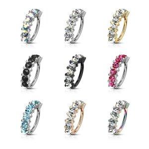 Ohrring biegbar - 7 Kristalle